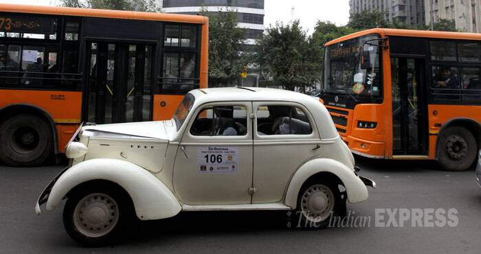 A cute little white vintage car. (IE Photo: Ravi Kanojia)