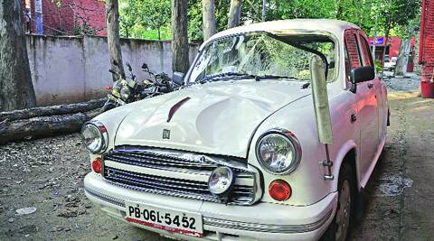 The car, which hit the two students, at the Sector 11 police station on Wednesday. Kshitij Mohan