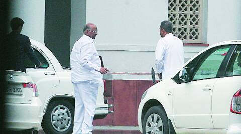 Sharad Pawar and Praful Patel after the Cabinet meeting at Prime Minister's residence on Friday.(Anil Sharma)