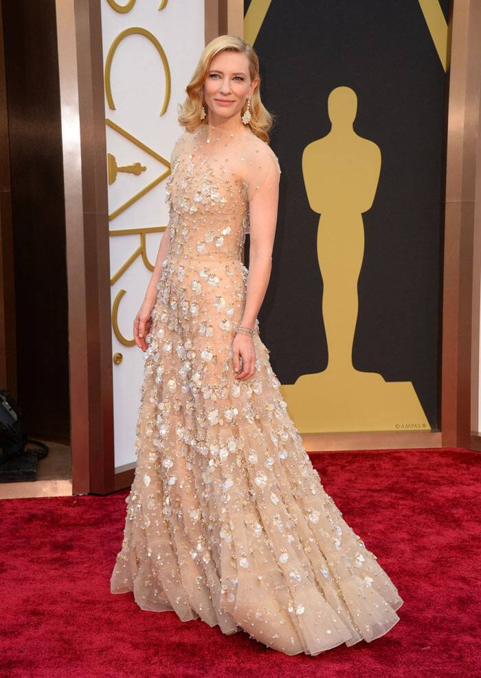 Cate Blanchett looked amazing on the red carpet wearing an Armani Prive sleeveless nude gown featuring Swarovski crystals. She has been nominated in the Best Actress category for her role in Blue Jasmine. (AP)