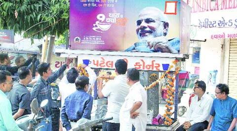 A tea stall is decked up for Chai pe Charcha in Vadodara on Saturday. (Bhupendra Rana)