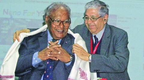Professor Arun Grover honours Bharat Ratna Awradee C N R Rao at  PU on Sunday. Sumit Malhotra
