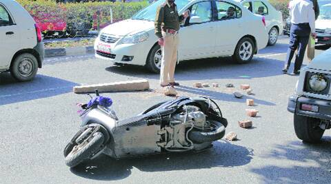 After the accident in Chandigarh on Thursday.