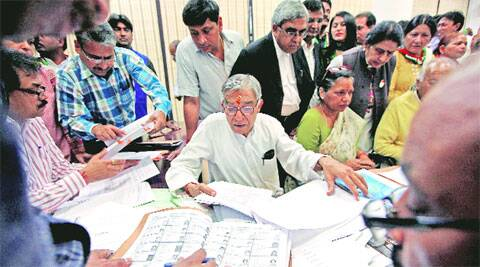 Pawan Kumar Bansal (congress) fiiling his nomination papers in Chandigrah on Wednsday.
