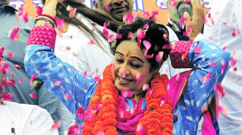 BJP candidate Kirron Kher during a rally at Manimajra  on Sunday