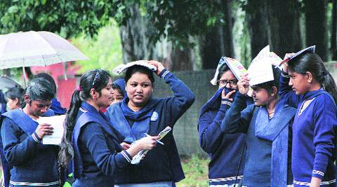 Students after writing the examination at Sector 35, Chandigarh, on Saturday. Jasbir Malhi