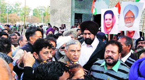Bansal and other leaders during padyatra at Dhanas in Chandigarh on Sunday