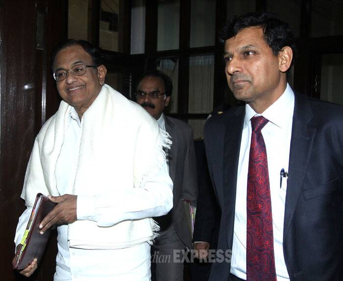 Finance Minister P Chidambaram with RBI Governor Raghuram Rajan arrives to attend the RBI Central Board Meeting in New Delhi on Friday. (IE Photo: Prem Nath Pandey)