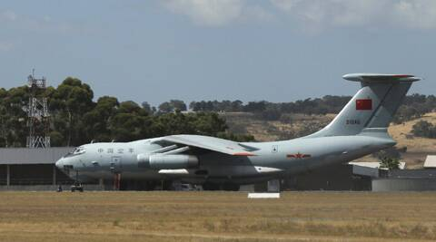 A Chinese Ilyushin IL-76s aircraft sit on the tarmac at RAAF Pearce base ready to join the search for the missing Malaysia Airlines flight MH370 in Perth, Australia. (AP)