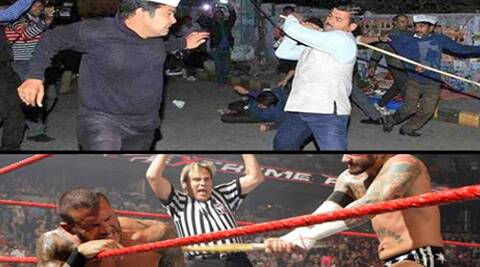 pictures showing why those BJP and AAP workers could possibly follow the Great Khali into  uperstardom in the WWE.