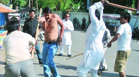 Congress workers and Bundelkhand Sena activists clash at Congress headquarters in Lucknow, Friday.