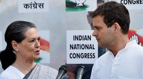Sonia Gandhi and Rahul Gandhi at press conference