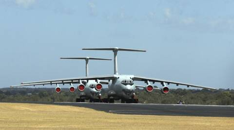 Two Chinese Ilyushin IL-76s aircraft sit on the tarmac at RAAF Pearce base ready to join the search for the missing Malaysia Airlines flight MH370 in Perth. (AP)