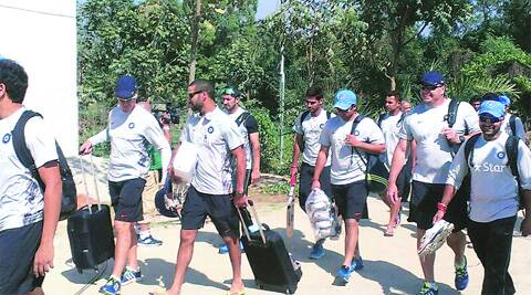 Indian players had to take a long walk to the BKSP ground for practice on Saturday as their team bus was too big for the narrow approach road. (IE Photo: Nihal Koshie)