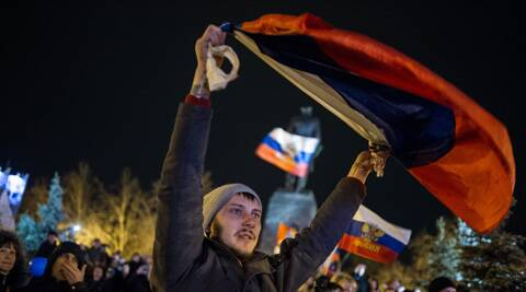 Pro-Russian people celebrate in the central square in Sevastopol, Ukraine. (AP)