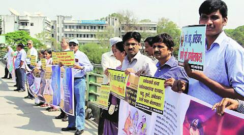 Hamid Dabholkar (third from right) during a protest at Vitthal Ramji Shinde Bridge on Thursday (Pavan Khengre)