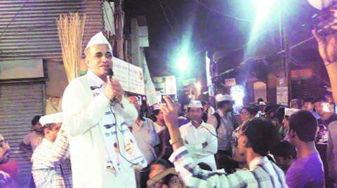 AAP candidate Subhash Ware at Ambedkarnagar slums on Wednesday night.