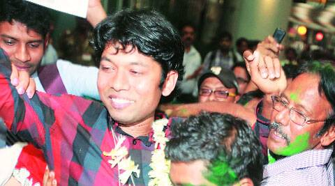 Deep Mandal, the telecom staffer abducted by NLFT, being greeted by his family at the Dum Dum airport in Kolkata on Monday. (Subham Dutta)