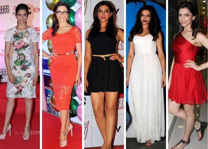 Deepika also has a good eye for dresses and carries them off with élan – whether mini, midi or maxi. She went floral in a pretty lace Dolce & Gabbana dress with nude pumps. Deepika also went geek chic in a stylish red hot belted lace dress by Nidhi & Pankaj. And for her mini look, the actress flaunted her sexy legs in a black belted Halston Heritage dress with leopard print ballerinas. For the maxi look, we picked the gorgeous white maxi dress from Alice + Olivia which Deepika worked beautifully with her maroon lips and dark luscious tresses.