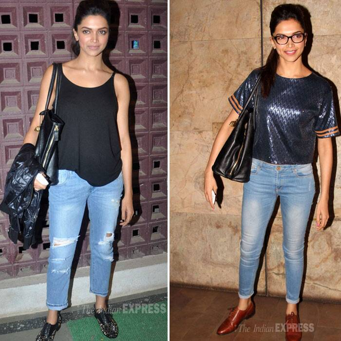 Even when it comes to dressing down, Deepika still manages to look amazing and makes heads turn. For a dance show in the city, the actress picked a black tank top, ripped denims and oxford shoes. While a film screening in the city saw her in a shiny crop top with skinny jeans and tan oxfords.