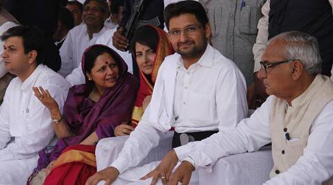 Deepinder Singh Hooda at an election rally at Rohtak. (Photo courtesy: Facebook)