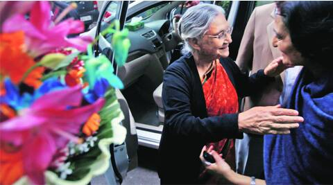 Many friends and party workers turned up at former CM Sheila Dikshit's Firozshah Road flat on Wednesday to wish her well.