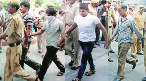 Akshay Thakur, Pawan Gupta (face covered), Vinay and Mukesh Singh (R) have been convict. Archive