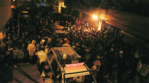 Protests in Vijay Nagar soon after the incident on Friday night. Deepak Shijagurumayum