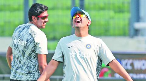 India and CSK teammates MS Dhoni and R Ashwin during a practice session in Dhaka on Thursday. India face Bangladesh on Friday. (AP)