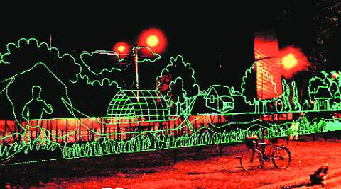 Decorative lights for the World T20 in a Dhaka street on Sunday. The event begins in Bangladesh on March 16.
