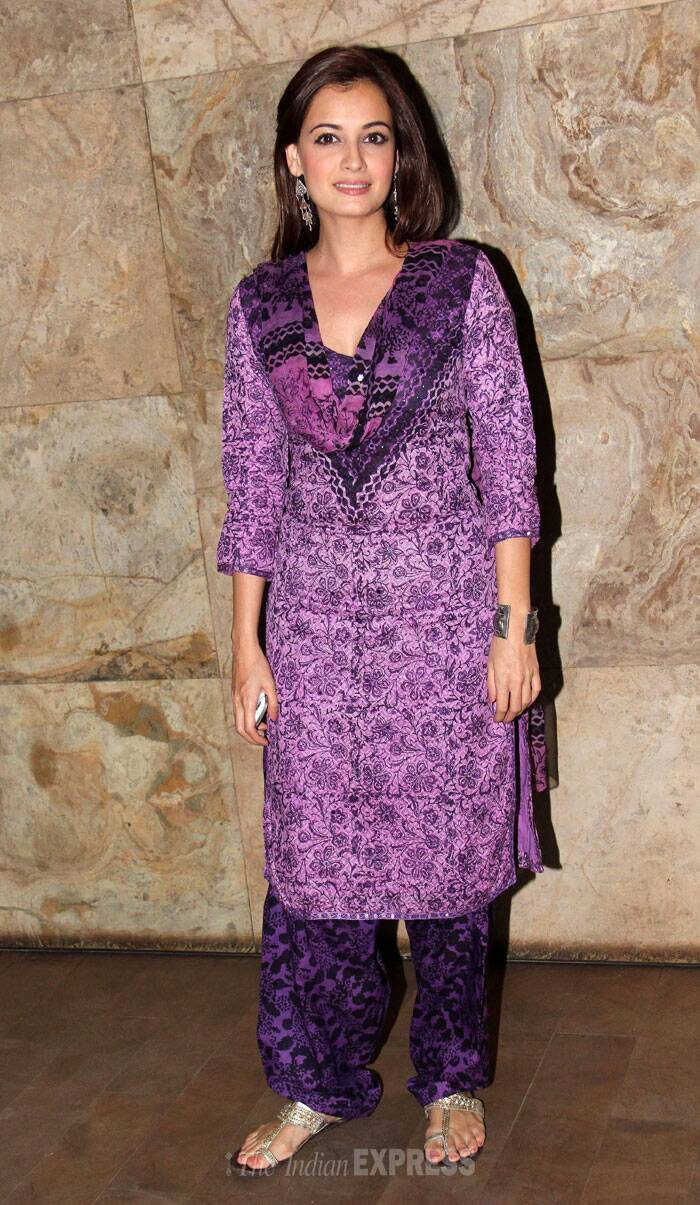Actress-turned-producer Dia Mirza went desi in a purple printed salwar suit. (Photo: Varinder Chawla)