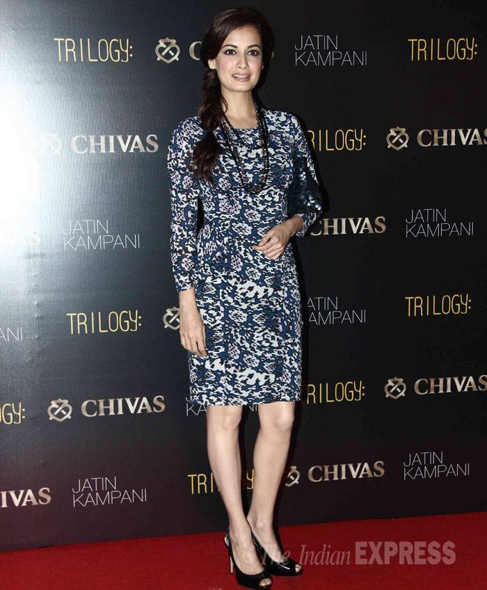 Dia Mirza was her pretty self in a floral-print sheath dress with black peep toes. (Photo: Varinder Chawla)