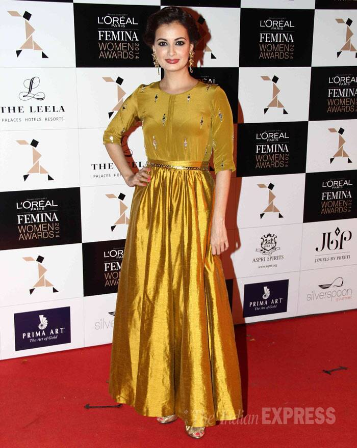 Newly-turned producer Dia Mirza was a golden lady in a Neeta Lulla silk skirt and top. (Photo: Varinder Chawla)