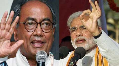 Digvijay Singh yet again targeted Narendra Modi calling him 'coward' for hiding his marital status.