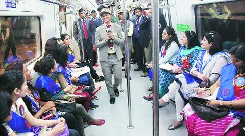 Commuters at the launch of DMRC's 'Know your Metro' campaign on Saturday. (PTI)