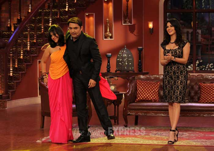 Host of the show, Kapil Sharma greets Ekta Kapoor with a hug. (Photo: Varinder Chawla)