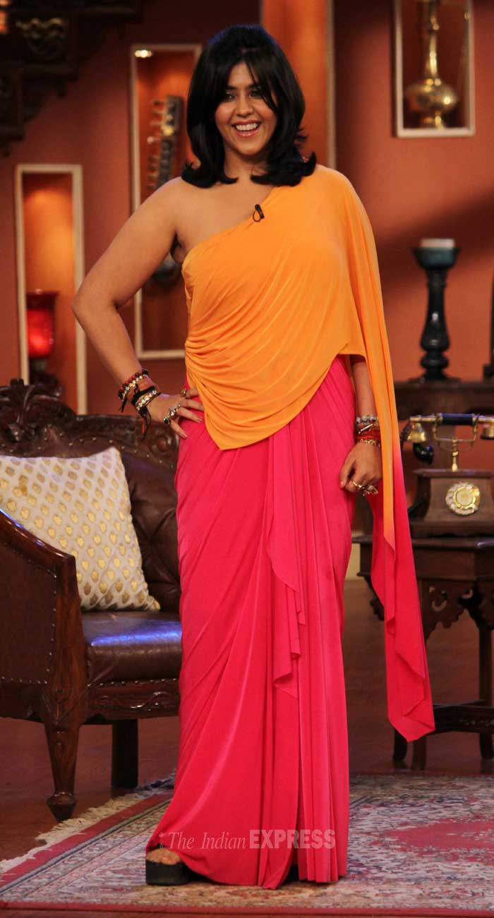 Ekta Kapoor as usual was a fashion disaster in a dual-toned one-shoulder dress. (Photo: Varinder Chawla)