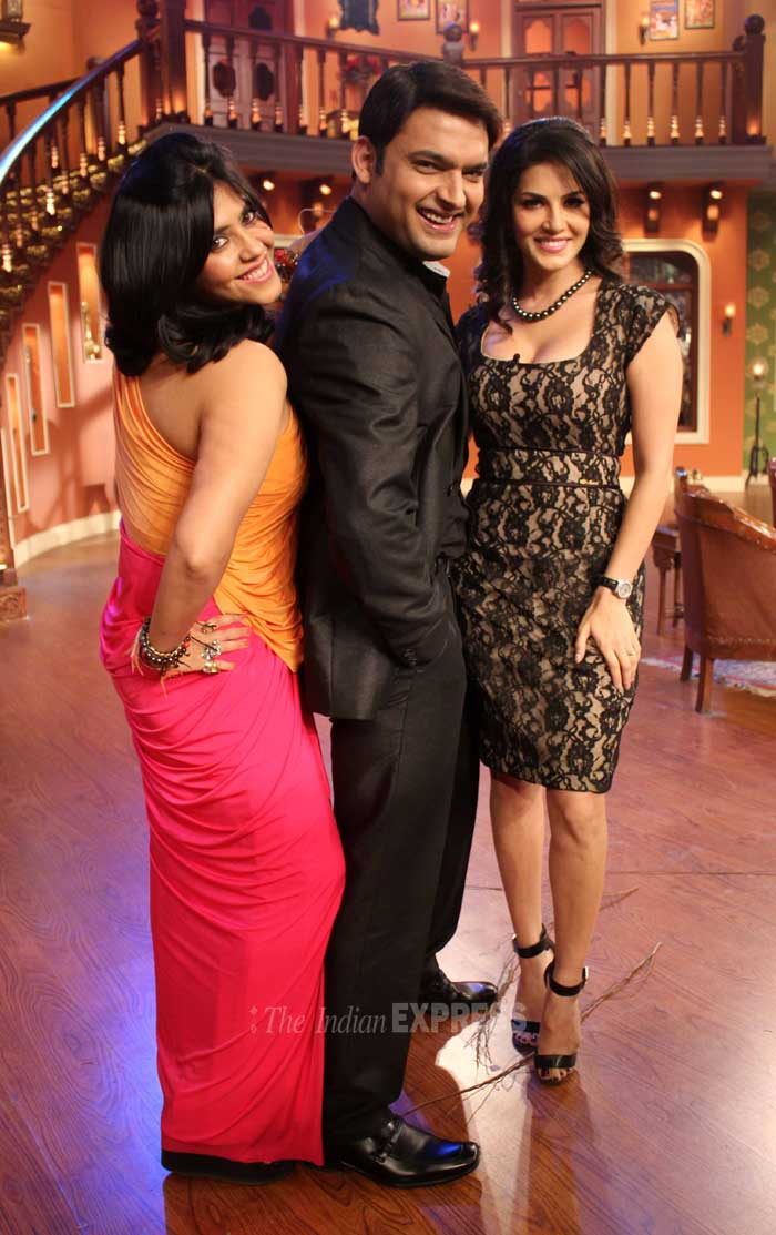 Sunny Leone along with her producer Ekta Kapoor appeared on the sets of television show, 'Comedy Nights With Kapil' to promote her upcoming film, 'Ragini MMS 2'. (Photo: Varinder Chawla)
