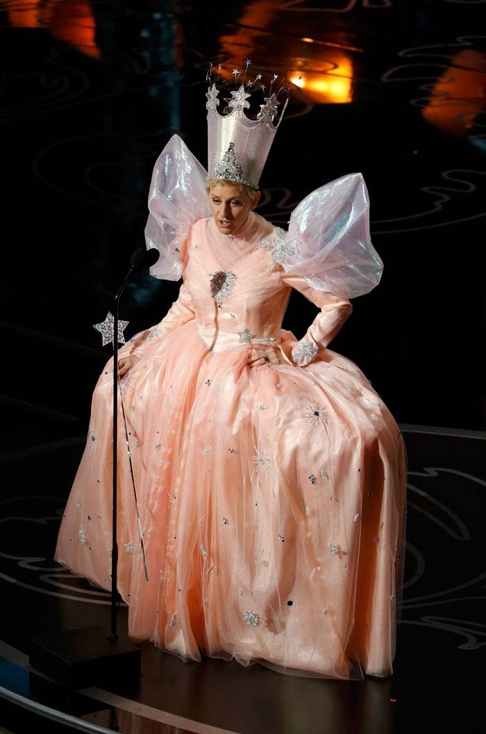 Ellen in a Glinda costume: Comical host Ellen Degeneres took the stage in a Glinda costume from 'The Wizard of Oz', saying that she was ready to take part in the anniversary tribute.
