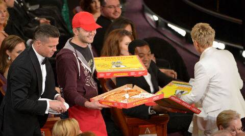 Ellen DeGeneres and Edgar Martirosyan went to audience members' area as they delivered the pizzas to actors like Brad Pitt, Jared Leto and Meryl Streep. (AP Photo)