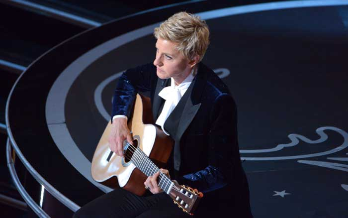 Ellen DeGeneres performs during the Oscars at the Dolby Theatre. (AP)