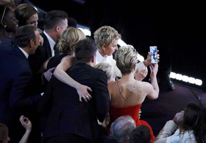 "A self-portrait of Ellen DeGeneres and stars including Meryl Streep, Jennifer Lawrence, Bradley Cooper, Brad Pitt and Angelina Jolie taken during Hollywood's annual Academy Awards ceremony quickly became the most shared photo ever on Twitter and even crashed the social networking site. The feat broke US President Barack Obama's ""Four More Years"" re-election victory shot. The picture of Obama hugging first lady Michelle Obama on election night in 2012 has been retweeted more than 780,000 times. (AP)"