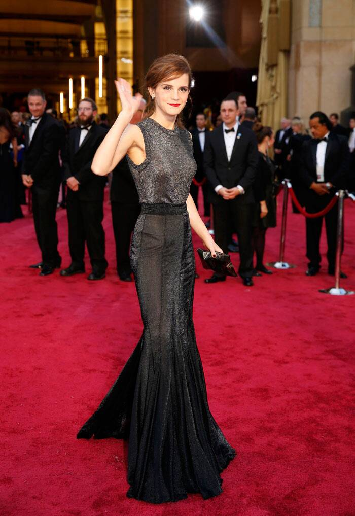Emma Watson: Though 'The Bling Ring' actress looked beautiful from the neck up, we weren't too impressed with her Vera Wang with the sheer back. We wish the starlet had picked something younger and more colourful. (Reuters)