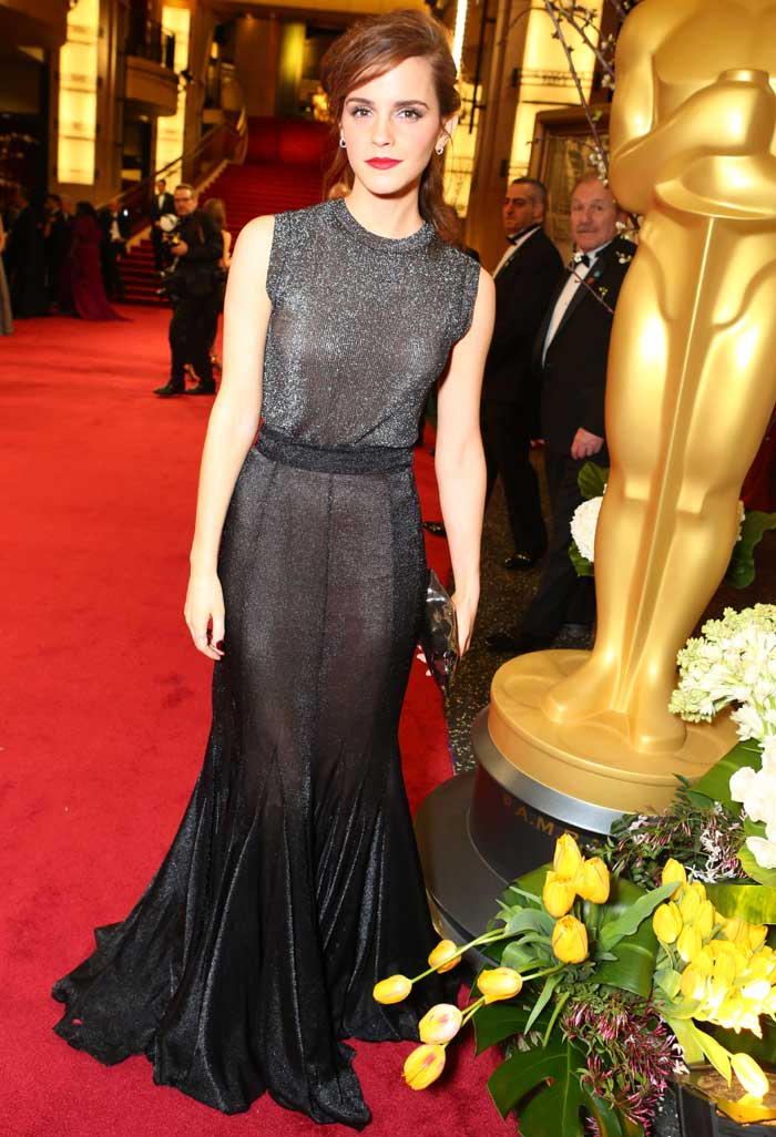 Emma Watson brought style and shimmer to the red carpet in a black and metallic Vera Wang gown. (AP)