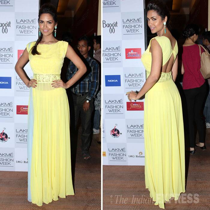 Esha Gupta, who will be seen in 'Humshakals' showed her support for Manish by donning a summery yellow creation by the designer. (Photo: Varinder Chawla)