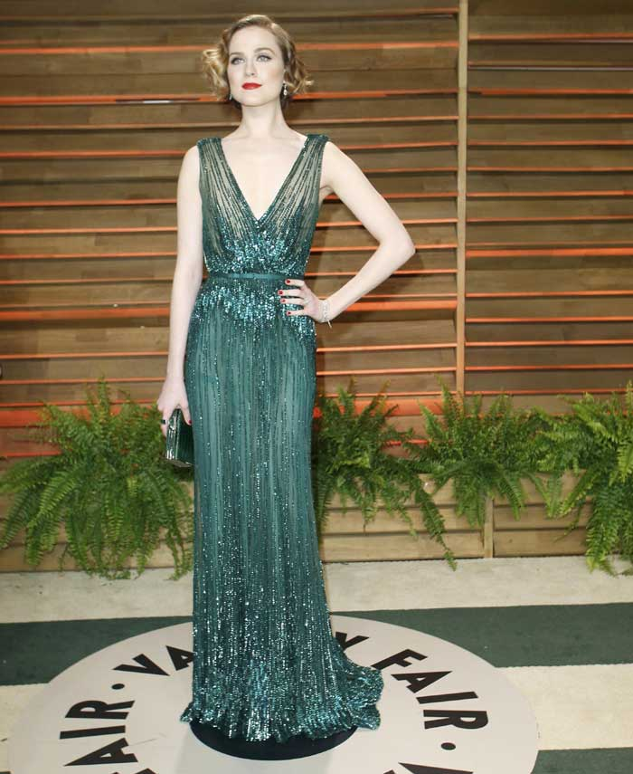 Actress Evan Rachel Wood at the 2014 Vanity Fair Oscars Party. (Reuters)