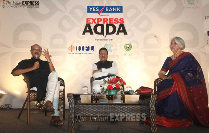Isher Judge Ahluwalia, author of Transforming Cities: Postcards of change, with Maharashtra Chief Minister Prithviraj Chavan and The Indian Express Editor-in-Chief Shekhar Gupta at the Express Adda in Mumbai on Tuesday night.  (IE Photo: Prashant Nadkar)