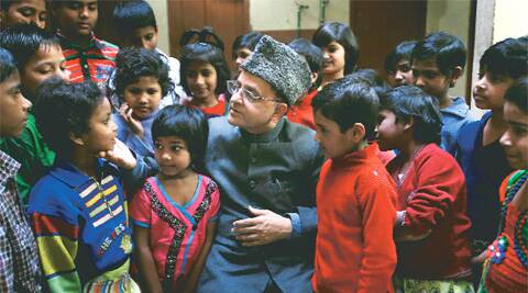 Zafar Mehmood with children from his orphanage Happy Home in Delhi.