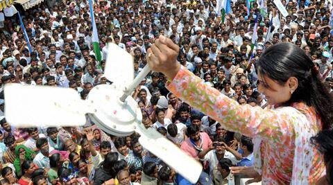 YSR Congress leader YS Sharmila at her road show in Krishna district on Thursday. (PTI)