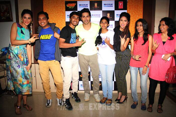 Varun, Ileana and Nargis pose with their fans. (Photo: Varinder Chawla)